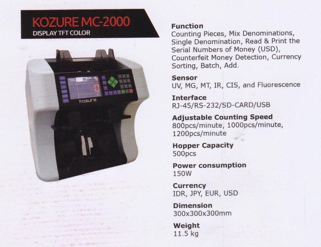 """Mesin Hitung Uang Kozure MC-2000"""